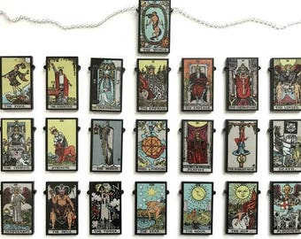 Single Tarot Card Necklace - Full Major Arcana - Black/White or Colour