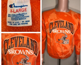 Custom Vintage Cleveland Browns sweatshirt // crewneck // acid bleached washed // faded distressed // adult women's large xl // champion