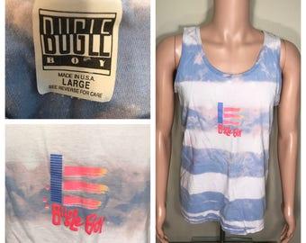 Custom // Vintage Bugle boy tank top // muscle shirt // acid bleach washed tee // adult size large // surfer skater hipster tee // 90s OG
