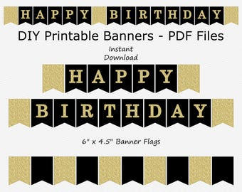 SALE Happy Birthday Banner - Black & Gold Glitter - DIY Printable - INSTANT Download
