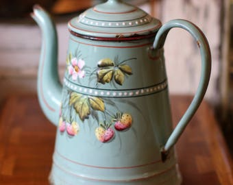 Antique French Enamel Coffee Pot