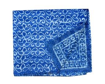Radha special Indigo Kantha queen Quilt Blue Color Kantha Throw Reversible Kantha Quilt reversible kantha blanket recycled kantha quilt