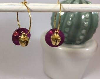 Small hoop earrings gold sequin nacre
