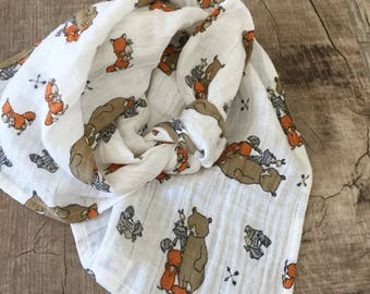 Critter Muslin lovey / Security blanket/ Burp cloth /personalized lovey / monogrammed lovey/ Printed Blanket