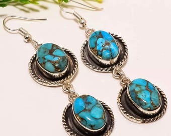 """Bronze Veined Blue Turquoise set in Sterling Silver Earrings 2.5"""" in length."""