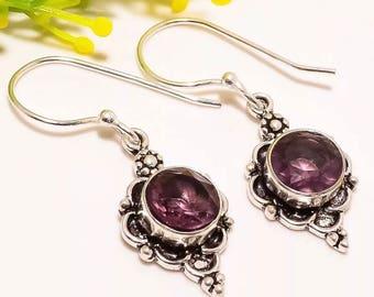 "Moroccan African Faceted Amethyst gemstone sterling silver handmade earrings 1.5"" length."