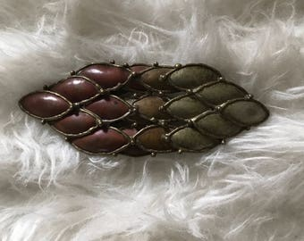 Vintage Autumn Leaves Bronze Belt Buckle