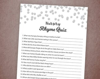 Nursery Rhyme Quiz, Baby Shower Game Printable, Silver Confetti, Instant Download, Gender Neutral, Baby Shower Activity, Rhyme Quiz, B016