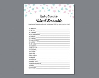 Word Scramble Game Printable, Boy Baby Shower Games, Confetti, Twins Baby Shower Activity, Instant Download, Unscramble, Words Puzzle, B004