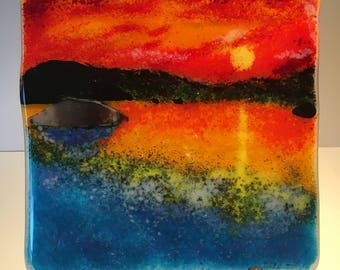 Sunset On The Water Handmade Fused Glass Panel