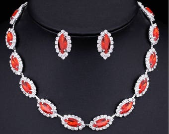 Rhinestone, Red Crystal, CZ necklace set, wedding bridal jewelry set costume