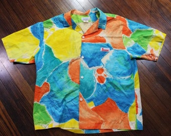 Vintage 80s Jams World Surf Line Hawaiian Abstract Loud Button Front Shirt Size XL