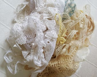 Lot of Vintage Laces, Trims, Crocheted Edgings, and Appliques