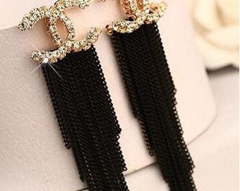 """Black tassel  crystal Earrings 3"""" long"""