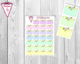 Printable Floral w/Arrow Boxes - Functional Stickers w/Cut Line