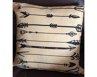 Gold Blue Arrow Throw Pillow