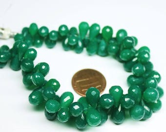"""Emerald Green Onyx Faceted Briolette Tear Drop Gemstone Loose Craft Beads Strand 8"""" 9mm 12mm"""
