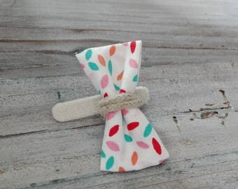 """Crocodile"" (bow pattern rice multicolors) hair clip"