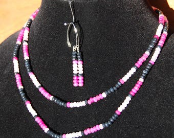 SAPPHIRES  Blue Pink and White Necklace and Earrings