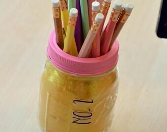 Hand Made Glitter Pencil Mason Jar