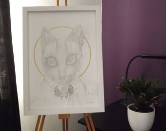 Goddess Cat - ORIGINAL - Drawing and Gold Leaf