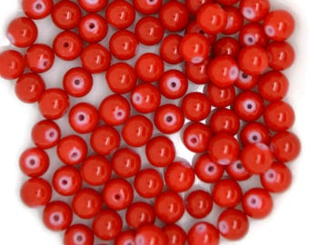 red glass beads, glass beads red, 8mm red glass beads, red glass beads 8mm, glass beads, round red glass beads, round glass beads