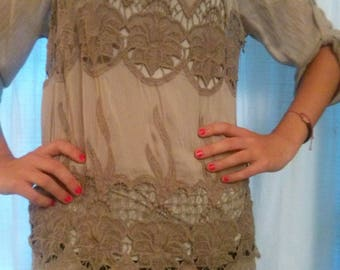 Tunic long sleeves in silk, cotton and viscose embroidered taupe