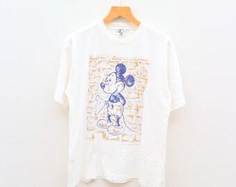 Vintage MICKEY MOUSE Walt Disney Cartoon White Tee T Shirt Size L