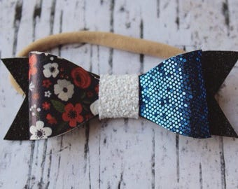 Black, Blue, Floral Hair Bow with white center. Felt Hair Bow. Faux leather bow. Sparkle Felt Hair Bow.