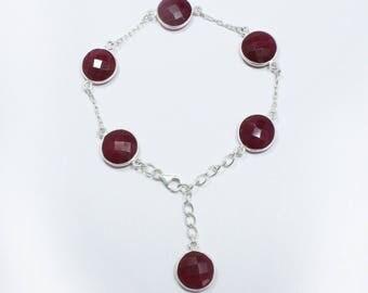 Royal Ruby Bracelet, Natural Royal Ruby, Faceted Ruby Gemstone, Silver Bracelet, Ruby Bracelet,Red Beads Bracelet,Handmade Ruby Bracelet B-1