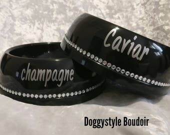 "Black With Diamond Bling ""Champagne & Caviar"" Food And Water Bowl Pet Cat Dog Puppy Set"