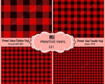 Red Plaid Pattern Printed Vinyl/Siser HTV/ Oracal/ Indoor Vinyl/ Outdoor Vinyl/ Heat Transfer Vinyl- 221