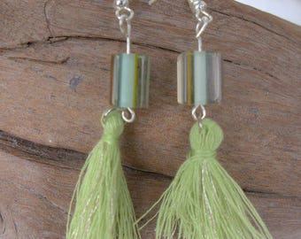 earring glass beads and tassel
