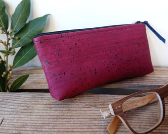 spectacle case - vegan - Cork - cork leather - made in France - handmade - handmade - ecofriendly - gift for her - peas - ethical