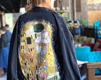 Painted denim jacket Gustav Klimt The kiss ( read the description !)