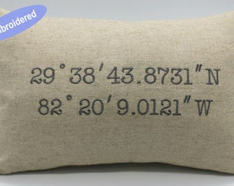 Pillow Covers Embroidered Latitude Longitude Coordinates Customized Lumbar Throw Pillowcase Gifts for Wedding,Housewarming,Couple,Nursery