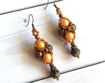 Brown earrings Gift for woman  Beadwork  earrings Earrings gift Long earrings Elegant earrings Crystal earrings