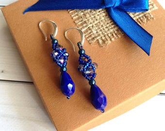 Blue earrings Gift for woman  Beadwork  earrings Earrings gift Long earrings Elegant earrings Crystal earrings