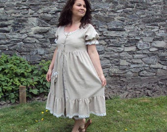 LUBINES dress romantic and shabby cotton linen color hemp country T40/42
