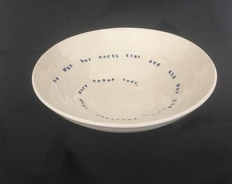 Large, handmade pottery bowl .