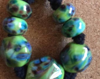 Bounty OOAK Lampwork glass bead set MAG