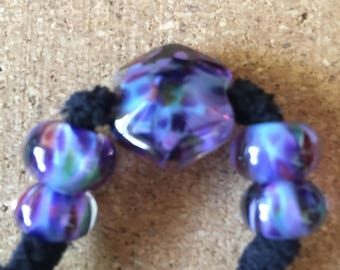 Purple space OOAK Lampwork glass bead set MAG