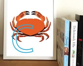 Crab Letter Print