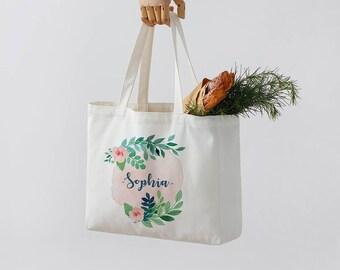 Personalized Bridal Tote Bag, Bridesmaid Tote Bag, custom bachelorette party white Bag, Monogrammed canvas Bag wedding bag