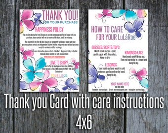 Customer Thank you Card with care instructions, Happiness Policy, Return policy. Care card, 4x6'', Home Office Approved, Flowers