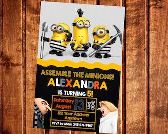 Despicable me 3 Minions Invitation, Despicable me 3 Birthday Party Invitation, Minions Invite, Printable, Digital file
