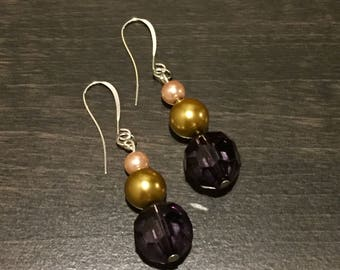 Beaded dangle earrings with imitation pearl and crystal