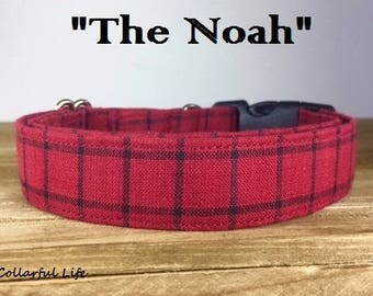 "Red and Black Plaid Dog Collar - ""The Noah"""