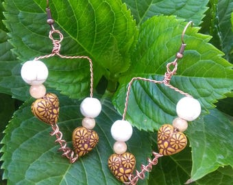Copper triangle earrings and natural wood beads