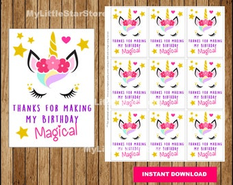Printable Unicorn tags, Unicorn Thank you tags, Unicorn party cards Instant download